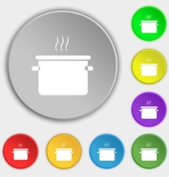 Pan cooking icon sign symbol on eight flat buttons vector