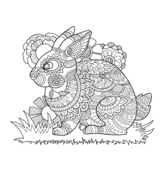Rabbit bunny coloring book for adults vector