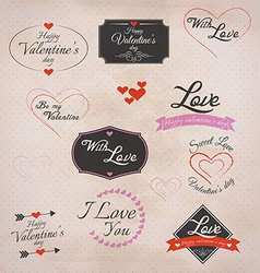 retro valentines labels vector image