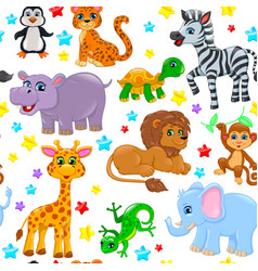 Seamless pattern animals and stars vector
