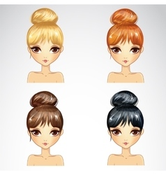 Set Of Bunch Hairstyling vector image vector image