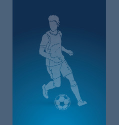 soccer player running with soccer ball action vector image