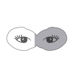 Sticker silhouette pair female eyes icon vector