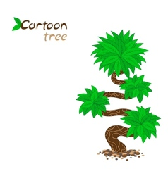 Stylized cartoon tree isolated on white vector image