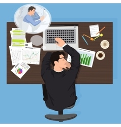 Tired business man worker sleeping at work vector