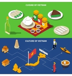 Vietnam Culture Touristic Isometric 2 Banners vector image vector image