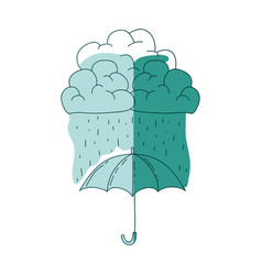 Watercolor silhouette of umbrella with cloud and vector