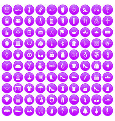 100 womens accessories icons set purple vector