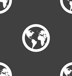 Globe icon sign seamless pattern on a gray vector