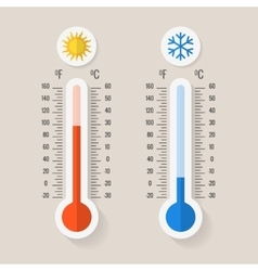 Celsius and fahrenheit meteorology thermometers vector image
