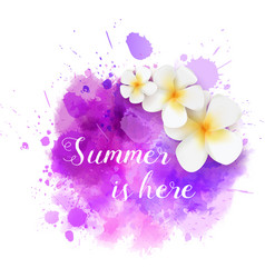 Summer watercolored splash with flowers vector