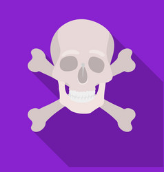 Pirate skull and crossbones icon in flat style vector