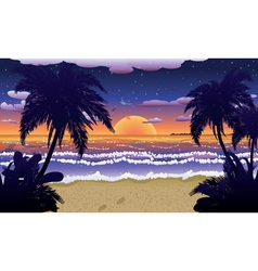 Sunset on beach with palms2 vector