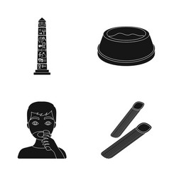 Egyptian pillar bowl with food and other web icon vector