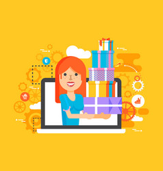 Woman in laptop notebook with vector