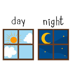 Opposite wordcard for day and night vector