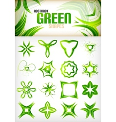 Abstract green pattern shapes set vector