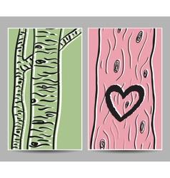 card birch heart tree vector image
