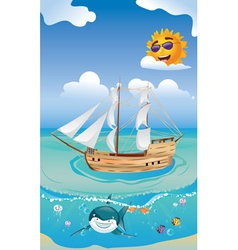Wooden ship in the sea2 vector