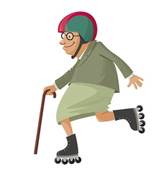 Elderly woman on roller skates vector