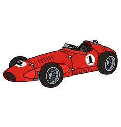 Classic red racing car vector