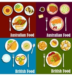 British and australian cuisine dishes vector