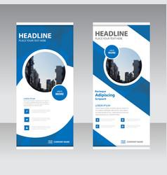 Blue business roll up banner flat design template vector