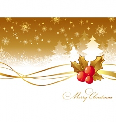 Christmas illustration with holly berries vector