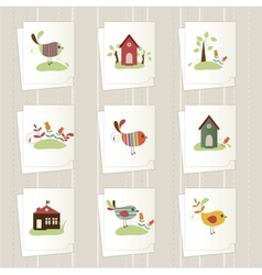 Set of cartoon cards vector image