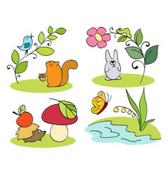 Little inhabitants of the forest vector image