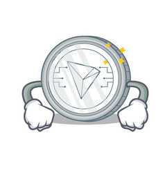 Angry tron coin character cartoon vector