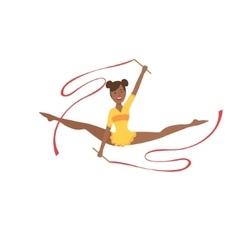 Black professional rhythmic gymnastics sportswoman vector
