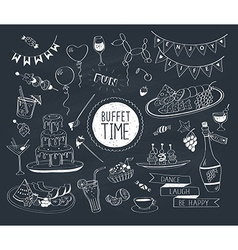 buffet doodle vector image