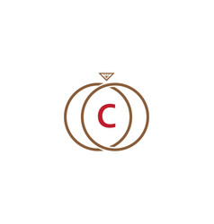 c letter ring diamond logo vector image