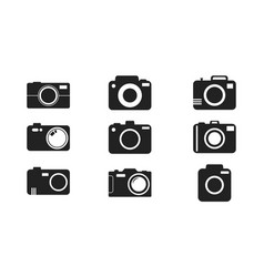 Camera icon set on white background in flat style vector