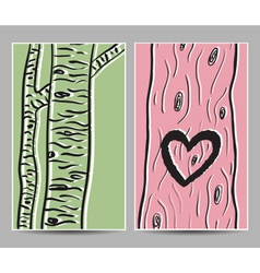 card birch heart tree vector image