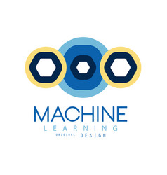 Colored logo of machine learning in geometric vector