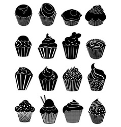 Cup cakes icons set vector image