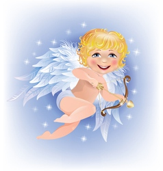Cupid shoots gold arrow vector image vector image