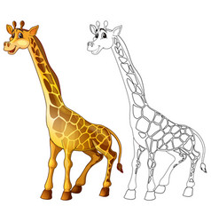 Doodle animal character for giraffe standing vector