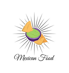Emblem of mexican food with nachos vector