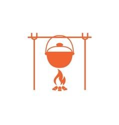 Fire and pot icon vector