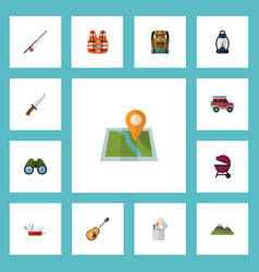 flat icons hill cigarette music and other vector image vector image