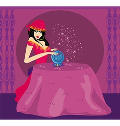 Fortune-teller with crystal ball vector