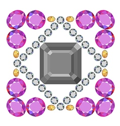 Gemstone rim asscher cut square brooch vector image vector image