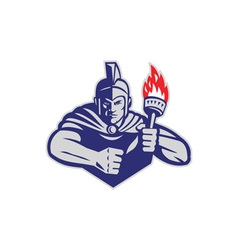 Greek warrior holding flaming torch retro vector