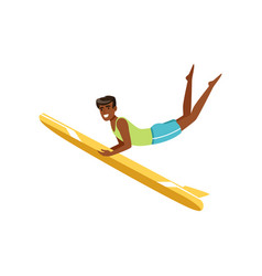 happy african american man surfing water extreme vector image