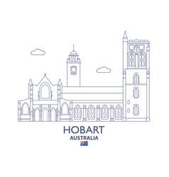 hobart city skyline vector image vector image