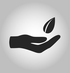 icon hand with leave saving eco nature vector image vector image