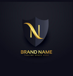 Letter n logo in premium style with shield vector
